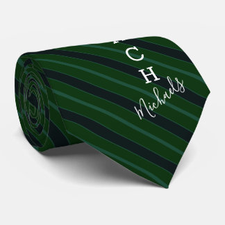 Volleyball Coach Signature Name Green Striped Tie
