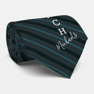 Volleyball Coach Signature Name Teal Striped Tie