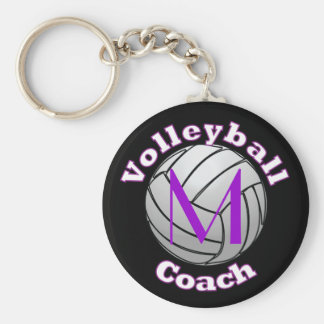 Volleyball Coach with Purple Initial Basic Round Button Key Ring