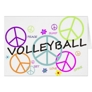 Volleyball Colored Peace Signs Card