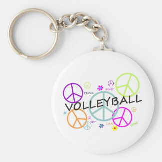 Volleyball Colored Peace Signs Key Ring