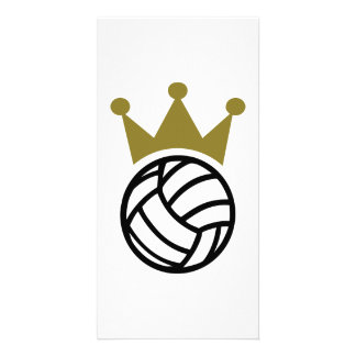 Volleyball crown champion custom photo card