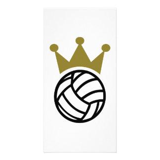 Volleyball crown champion custom photo card