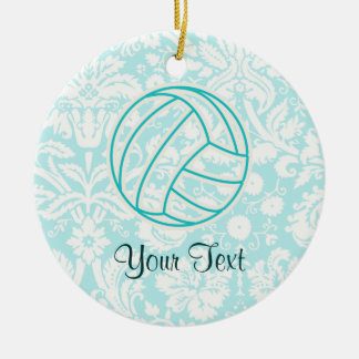 Volleyball; Cute Teal Christmas Ornament