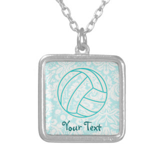Volleyball; Cute Teal Silver Plated Necklace