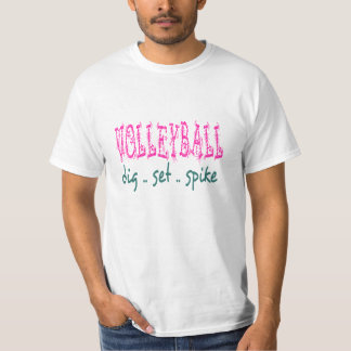 Volleyball Dig Set Spike Unisex Tee (pink/green)