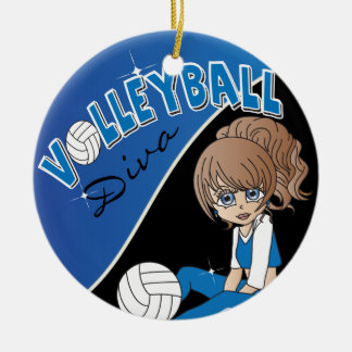 Volleyball Diva Girl Player in Blue Christmas Ornament