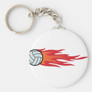 Volleyball Flames Basic Round Button Key Ring
