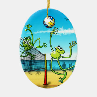 Volleyball Frog Ceramic Oval Decoration