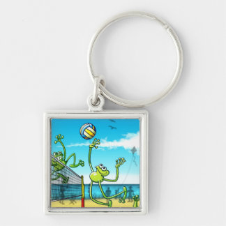 Volleyball Frog Silver-Colored Square Key Ring