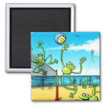 Volleyball Frog Square Magnet