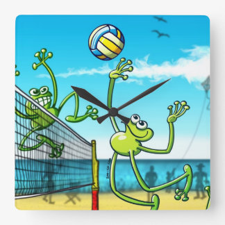 Volleyball Frog Square Wall Clock
