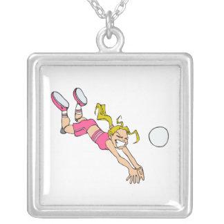 Volleyball Girl Dive Square Pendant Necklace