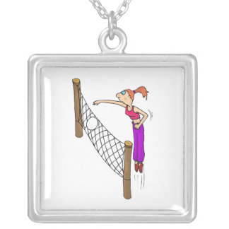 Volleyball girl spike square pendant necklace