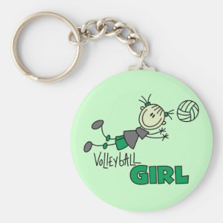 Volleyball Girl Tshirts and Gifts Basic Round Button Key Ring