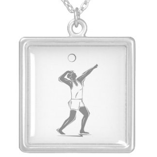 Volleyball Gray Serve Square Pendant Necklace