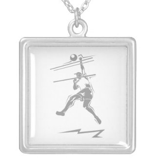 Volleyball Gray Spike Personalized Necklace