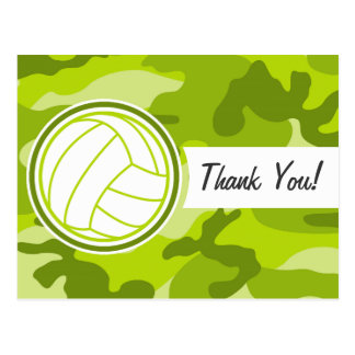 Volleyball; green camo, camouflage postcard