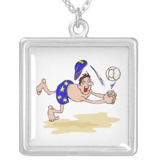 Volleyball guy square pendant necklace