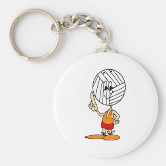 Volleyball Head Basic Round Button Key Ring