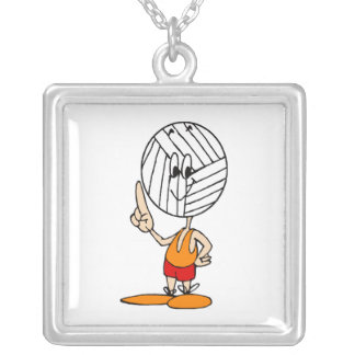 Volleyball Head Square Pendant Necklace