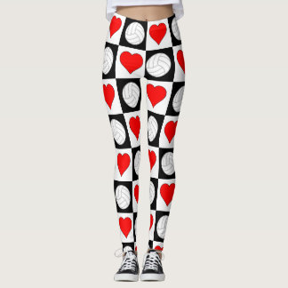 Volleyball Hearts Black & White Checkered Pattern Leggings