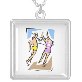 Volleyball Him vs Her Square Pendant Necklace