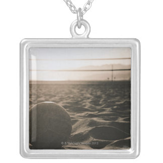 Volleyball in the Sand Silver Plated Necklace