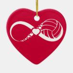 Volleyball Infinite Love Ceramic Heart Decoration