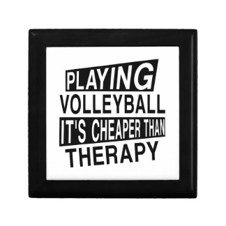 VOLLEYBALL IT IS CHEAPER THAN THERAPY SMALL SQUARE GIFT BOX