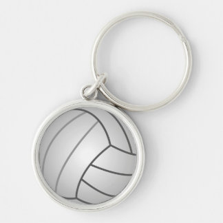 Volleyball Silver-Colored Round Key Ring