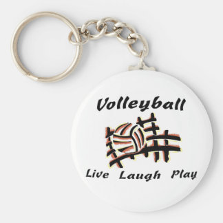 Volleyball: Live Laugh Play Basic Round Button Key Ring