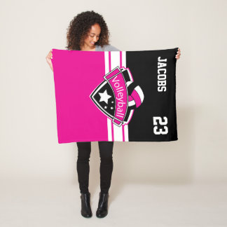 Volleyball Logo in Hot Pink, White & Black Fleece Blanket