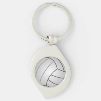 Volleyball Silver-Colored Swirl Key Ring