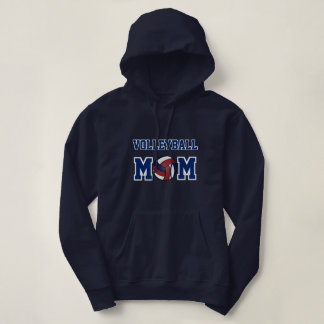 Volleyball Mom - Navy Blue, White and Dark Red Hoodie