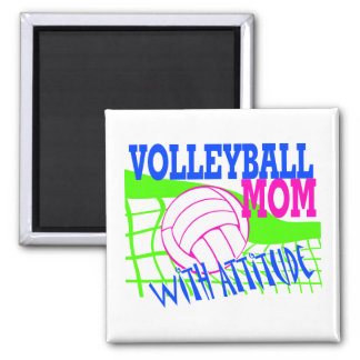 Volleyball Mom With Attitude Square Magnet