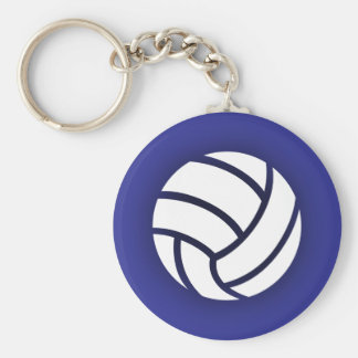 Volleyball Navy Blue Basic Round Button Key Ring
