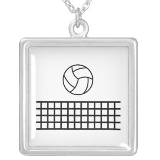 Volleyball Square Pendant Necklace