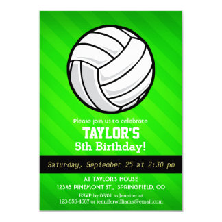 Volleyball; Neon Green Stripes Card