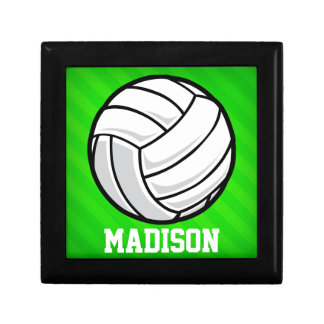 Volleyball; Neon Green Stripes Jewelry Box