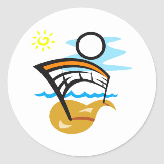 Volleyball Net & Ball Classic Round Sticker