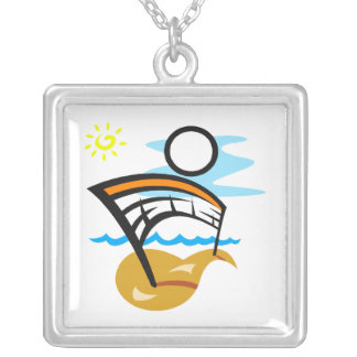 Volleyball Net & Ball Square Pendant Necklace