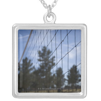 Volleyball net silver plated necklace