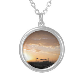 Volleyball Net Sunset Beach Round Pendant Necklace