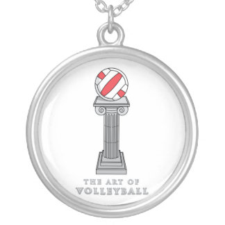 volleyball on a pedestal round pendant necklace