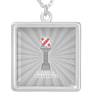 volleyball on a pedestal square pendant necklace