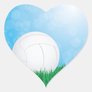 volleyball on grass heart sticker