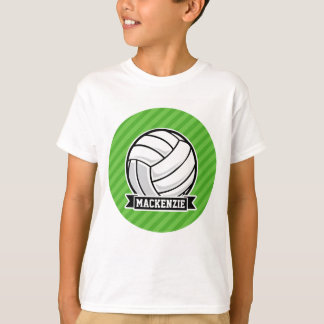 Volleyball on Green Stripes Tee Shirt