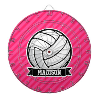Volleyball on Neon Pink Stripes Dartboard