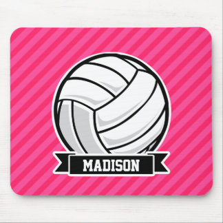 Volleyball on Neon Pink Stripes Mouse Pads